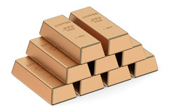 Copper ingots Stock Photo