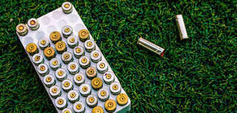 Copper jacketed of blank gun bullets for sport in the box. Cartr Stock Photography