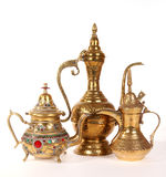 Copper jug with a traditional Arabic ornaments royalty free stock images