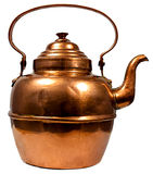 Copper Kettle. Old copper kettle. Isolated on white royalty free stock photos