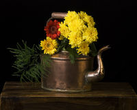 Copper kettle and flowers Stock Image