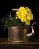 Copper kettle and flowers Stock Photo