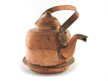 Copper kettle isolated Stock Photo