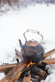 Copper kettle over an open fire in winter Royalty Free Stock Photos