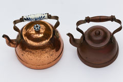 Copper Kettles Pots. Copper kettle pots for fire or gas stoves Stock Photo
