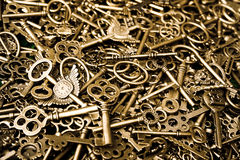 Copper keys. Steampunk background within a lot of vermeil keys Royalty Free Stock Photos