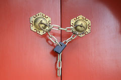 The copper knocker on red door in the Zhengjue temple in Old sum Royalty Free Stock Images
