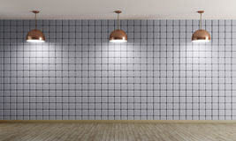 Copper lamps against of blue wall interior background 3d renderi Royalty Free Stock Images