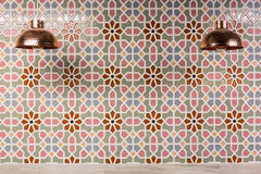 Copper Lamps and moroccan wall tiles. Royalty Free Stock Photo