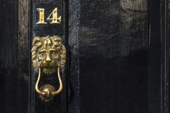 Copper lion door hummer and number, Westminster, London, UK Royalty Free Stock Images