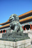 Copper lion sculpture in  Forbidden City Royalty Free Stock Image