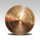 Copper lisk coin isolated on white background 3d rendering. Illustration Royalty Free Stock Photos