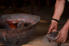 Copper making. Copper handicrafts from Santa Clara del Cobre royalty free stock photo