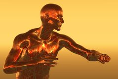 Copper man. Graphic background Stock Photos