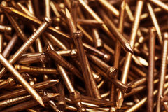 Copper metal nail Stock Photos
