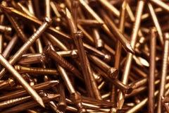 Copper metal nail. Texture of closeup metal nail Stock Photos
