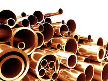 Copper metal pipe Royalty Free Stock Image