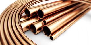 Copper metal pipe 3d Stock Photos
