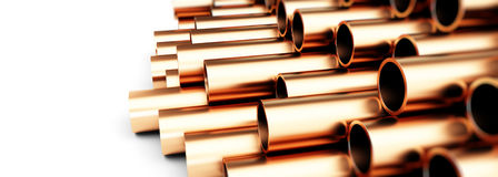 Copper metal pipe Illustrations 3d Stock Photo