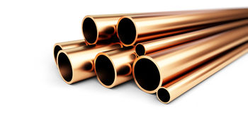 Copper metal pipe on white background. Stock Photos