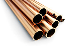 Copper metal pipe on white background Stock Images