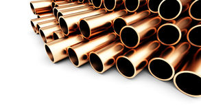 Copper metal pipe on white background. 3d Illustrations Stock Photos
