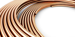 Copper metal pipes goods Stock Images
