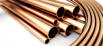 Copper metal pipes goods Royalty Free Stock Photos
