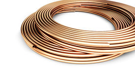 Copper metal pipes goods Royalty Free Stock Photo