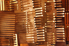 Copper metal plates springs and clips as background Stock Photo