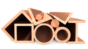 Copper metal products on white Royalty Free Stock Photography