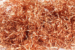 Copper metal shavings. A lot of shiny copper metal shavings Stock Photos