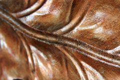 Copper metallic leaf. Closeup of metal copper leaf Royalty Free Stock Photo