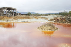 Copper Mine Chemical Waste Pond. Natural Disaster. Tailing pond (mining waste) from a copper and gold quarry. Industrial pollution Stock Photos