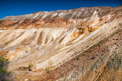 Copper mine near Tsar Asen village, Bulgaria. Rock formations in abandoned copper mine stock images