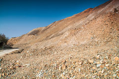 Copper mine near Tsar Asen village, Bulgaria. Rock formations in abandoned copper mine stock photo