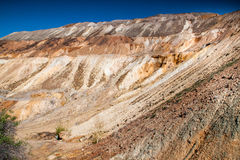 Copper mine near Tsar Asen village, Bulgaria. Rock formations in abandoned copper mine royalty free stock photography