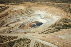 Copper mining excavation. Aerial view of copper mining excavation Royalty Free Stock Photography