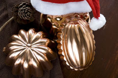 Copper molds for christmas Royalty Free Stock Photo