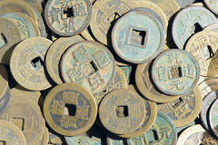 Copper money. The background of Chinese ancient currencies Stock Images
