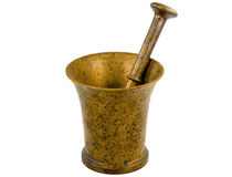 Copper mortar with a pestle Royalty Free Stock Photos