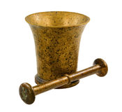 Copper mortar with a pestle Stock Photo