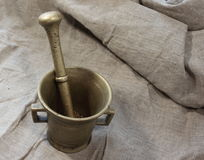 Copper mortar Royalty Free Stock Photo