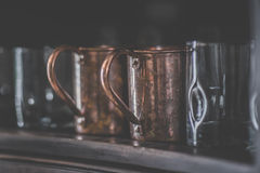 Copper Mugs Stock Photo