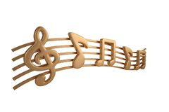 Free Copper Music Notes.3D Illustration. Royalty Free Stock Images - 125901239
