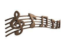 Copper music notes.3D illustration. Copper music notes. 3D illustration stock illustration