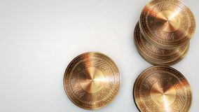 Copper musicoin coins falling on white background. Animation stock video footage