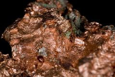 Copper Nugget. Close up of a copper nugget ore royalty free stock image