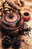 Copper old tea-pot Royalty Free Stock Image