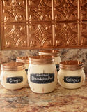 Copper Painted Jars for Tea Royalty Free Stock Photos